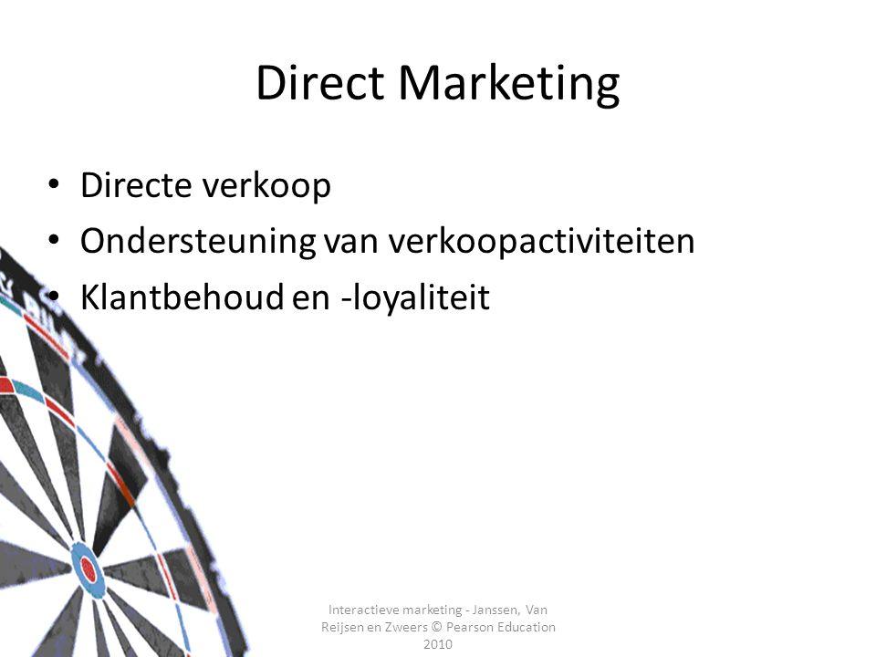 Interactieve marketing - Janssen, Van Reijsen en Zweers © Pearson Education 2010 Direct Marketing Directe verkoop Ondersteuning van verkoopactiviteiten Klantbehoud en -loyaliteit