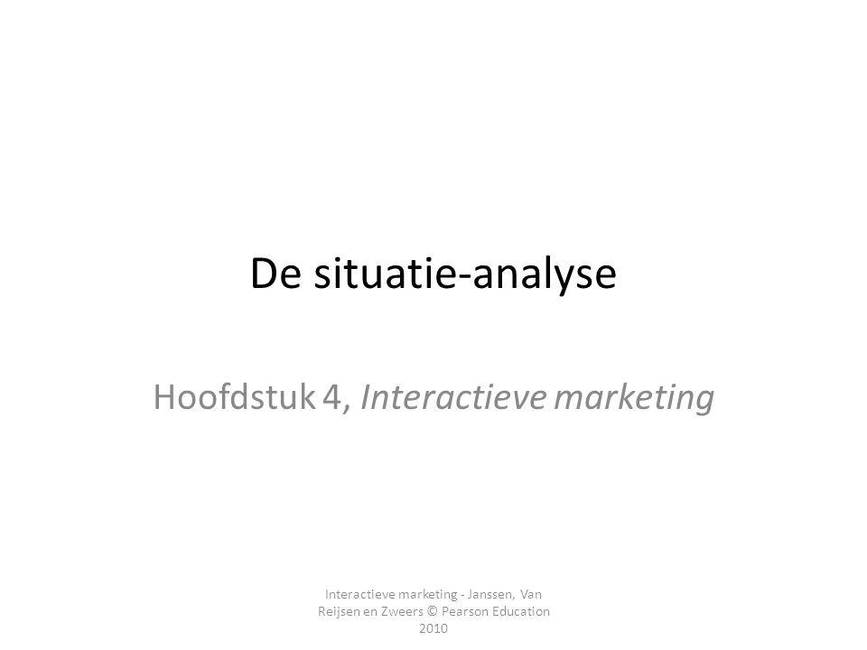 Interactieve marketing - Janssen, Van Reijsen en Zweers © Pearson Education 2010 De situatie-analyse Hoofdstuk 4, Interactieve marketing