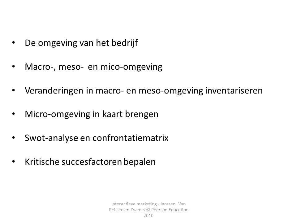 Interactieve marketing - Janssen, Van Reijsen en Zweers © Pearson Education 2010 De omgeving van het bedrijf Macro-, meso- en mico-omgeving Veranderin