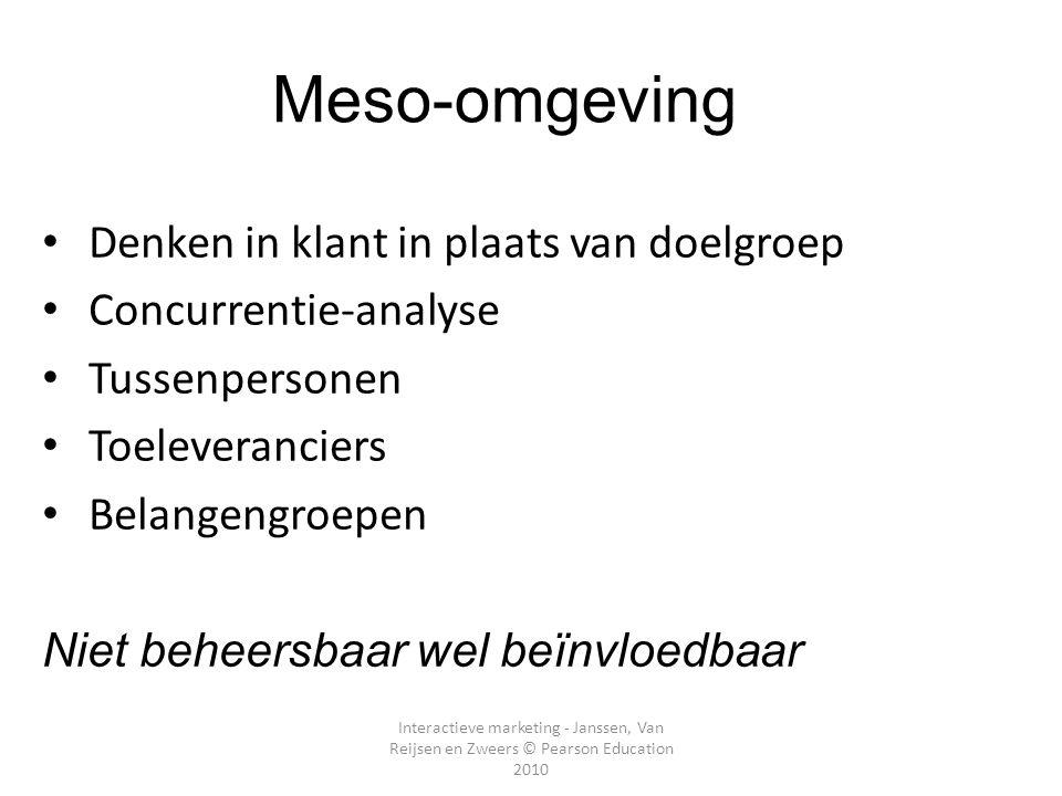 Interactieve marketing - Janssen, Van Reijsen en Zweers © Pearson Education 2010 Meso-omgeving Denken in klant in plaats van doelgroep Concurrentie-an