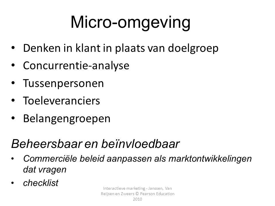 Interactieve marketing - Janssen, Van Reijsen en Zweers © Pearson Education 2010 Micro-omgeving SWOT-analyse Sterktes (micro-omgeving) Zwaktes (micro-omgeving) Kansen (meso- en macro-omgeving) Bedreigingen (meso- en macro- omgeving)