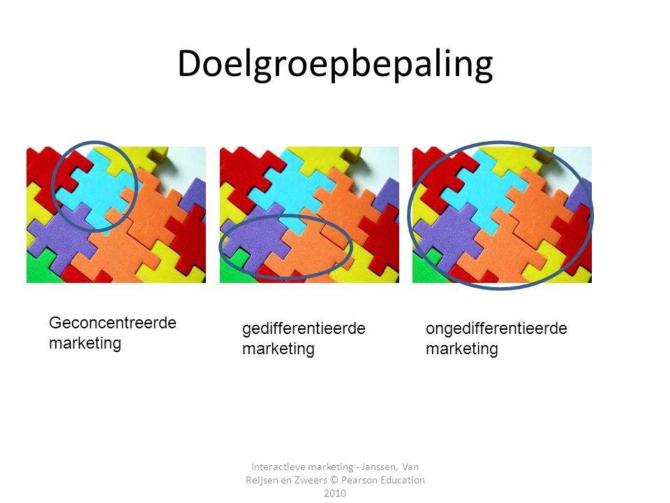 Interactieve marketing - Janssen, Van Reijsen en Zweers © Pearson Education 2010 Doelgroepbepaling Geconcentreerde marketing ongedifferentieerde marke