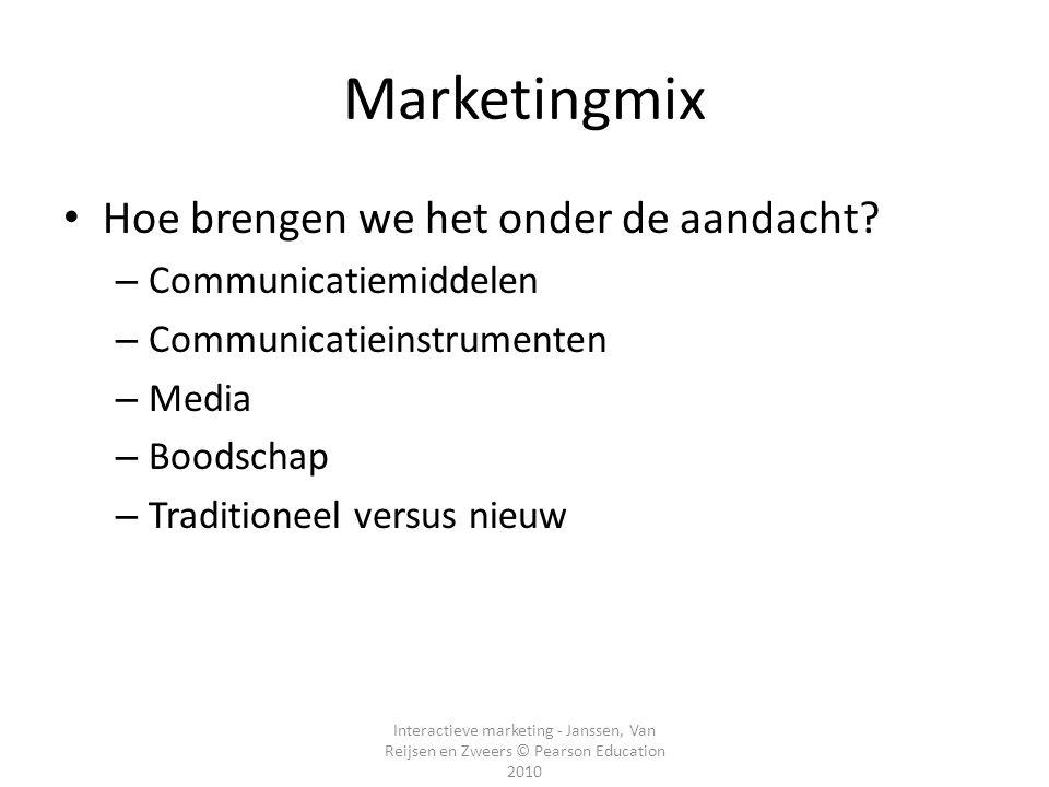 Interactieve marketing - Janssen, Van Reijsen en Zweers © Pearson Education 2010 Marketingmix Hoe brengen we het onder de aandacht? – Communicatiemidd
