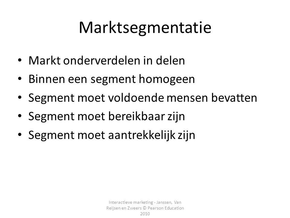 Interactieve marketing - Janssen, Van Reijsen en Zweers © Pearson Education 2010 Marktsegmentatie Markt onderverdelen in delen Binnen een segment homo