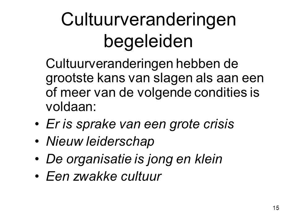 15 Cultuurveranderingen begeleiden Cultuurveranderingen hebben de grootste kans van slagen als aan een of meer van de volgende condities is voldaan: Er is sprake van een grote crisis Nieuw leiderschap De organisatie is jong en klein Een zwakke cultuur