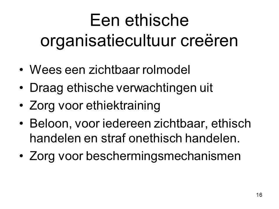 16 Een ethische organisatiecultuur creëren Wees een zichtbaar rolmodel Draag ethische verwachtingen uit Zorg voor ethiektraining Beloon, voor iedereen zichtbaar, ethisch handelen en straf onethisch handelen.