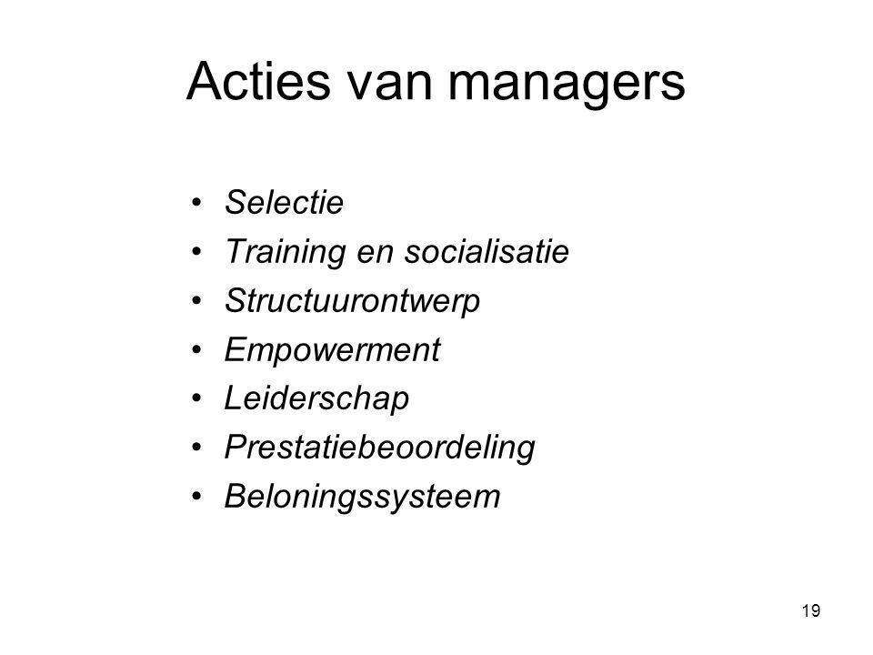 19 Acties van managers Selectie Training en socialisatie Structuurontwerp Empowerment Leiderschap Prestatiebeoordeling Beloningssysteem