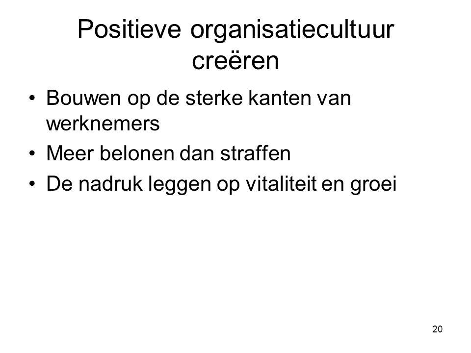 20 Positieve organisatiecultuur creëren Bouwen op de sterke kanten van werknemers Meer belonen dan straffen De nadruk leggen op vitaliteit en groei