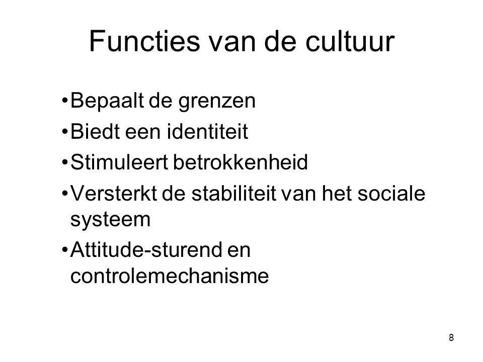 8 Functies van de cultuur Bepaalt de grenzen Biedt een identiteit Stimuleert betrokkenheid Versterkt de stabiliteit van het sociale systeem Attitude-sturend en controlemechanisme