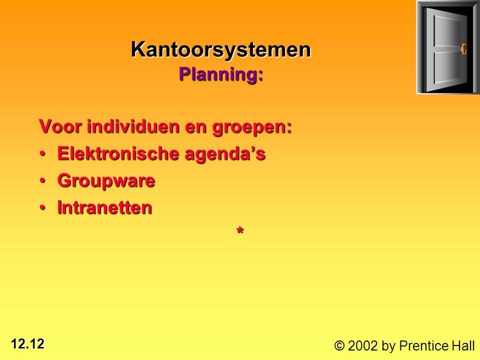 12.12 © 2002 by Prentice Hall Kantoorsystemen Planning: Voor individuen en groepen: Elektronische agenda'sElektronische agenda's GroupwareGroupware In
