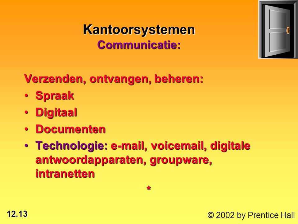 12.13 © 2002 by Prentice Hall Kantoorsystemen Communicatie: Verzenden, ontvangen, beheren: SpraakSpraak DigitaalDigitaal DocumentenDocumenten Technologie: e-mail, voicemail, digitale antwoordapparaten, groupware, intranettenTechnologie: e-mail, voicemail, digitale antwoordapparaten, groupware, intranetten*