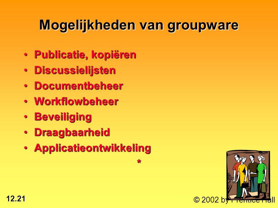 12.21 © 2002 by Prentice Hall Mogelijkheden van groupware Publicatie, kopiërenPublicatie, kopiëren DiscussielijstenDiscussielijsten DocumentbeheerDocu