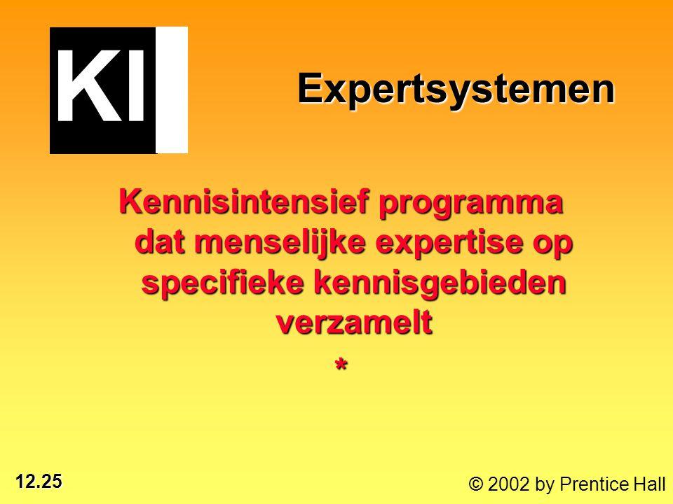 12.25 © 2002 by Prentice Hall Expertsystemen Expertsystemen Kennisintensief programma dat menselijke expertise op specifieke kennisgebieden verzamelt