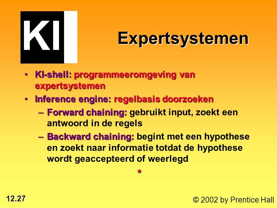 12.27 © 2002 by Prentice Hall Expertsystemen Expertsystemen KI-shell: programmeeromgeving van expertsystemenKI-shell: programmeeromgeving van expertsy