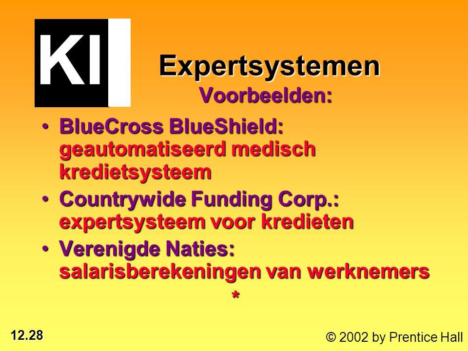 12.28 © 2002 by Prentice Hall Expertsystemen Voorbeelden: Expertsystemen Voorbeelden: BlueCross BlueShield: geautomatiseerd medisch kredietsysteemBlue