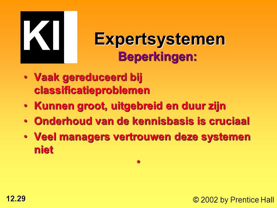 12.29 © 2002 by Prentice Hall Expertsystemen Beperkingen: Expertsystemen Beperkingen: Vaak gereduceerd bij classificatieproblemenVaak gereduceerd bij