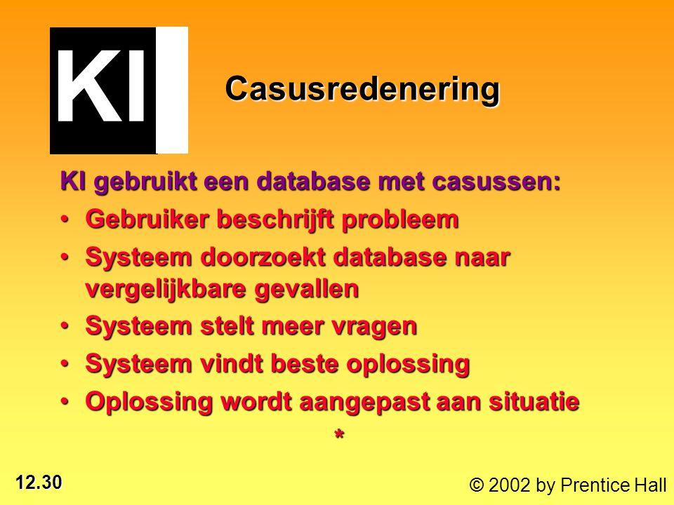 12.30 © 2002 by Prentice Hall Casusredenering KI gebruikt een database met casussen: Gebruiker beschrijft probleemGebruiker beschrijft probleem Systee