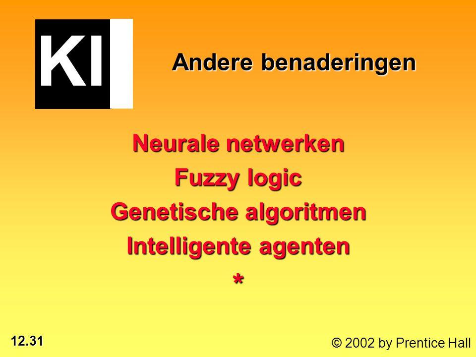 12.31 © 2002 by Prentice Hall Andere benaderingen Neurale netwerken Fuzzy logic Genetische algoritmen Intelligente agenten * KI