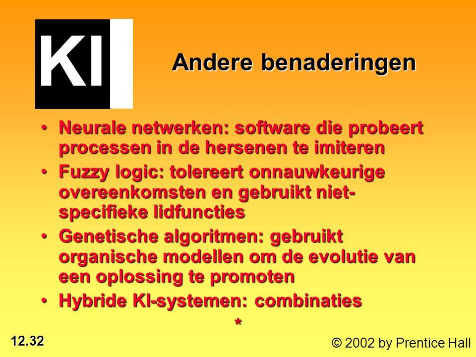 12.32 © 2002 by Prentice Hall Neurale netwerken: software die probeert processen in de hersenen te imiterenNeurale netwerken: software die probeert pr