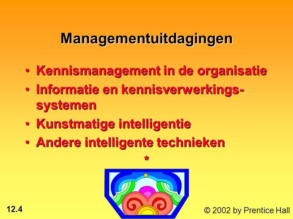 12.25 © 2002 by Prentice Hall Expertsystemen Expertsystemen Kennisintensief programma dat menselijke expertise op specifieke kennisgebieden verzamelt * KI