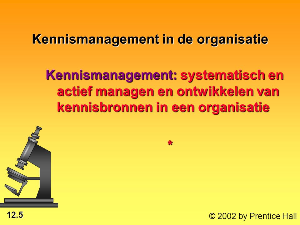 12.5 © 2002 by Prentice Hall Kennismanagement in de organisatie Kennismanagement: systematisch en actief managen en ontwikkelen van kennisbronnen in e