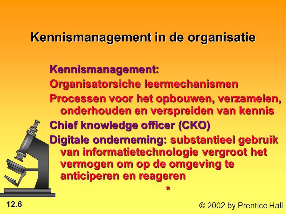 12.6 © 2002 by Prentice Hall Kennismanagement in de organisatie Kennismanagement: Organisatorsiche leermechanismen Processen voor het opbouwen, verzam