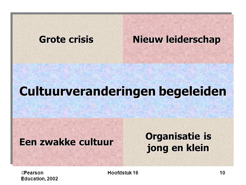  Pearson Education, 2002 Hoofdstuk 1610 Organisatie is jong en klein jong en klein Een zwakke cultuur Cultuurveranderingen begeleiden Nieuw leiderschap Grote crisis