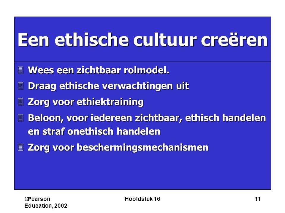  Pearson Education, 2002 Hoofdstuk 1611 Een ethische cultuur creëren 3Wees een zichtbaar rolmodel. 3Draag ethische verwachtingen uit 3Zorg voor ethie