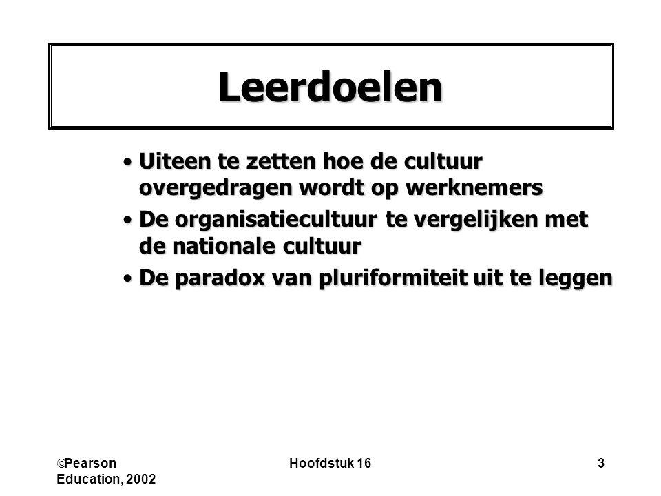  Pearson Education, 2002 Hoofdstuk 163 Leerdoelen Uiteen te zetten hoe de cultuur overgedragen wordt op werknemersUiteen te zetten hoe de cultuur overgedragen wordt op werknemers De organisatiecultuur te vergelijken met de nationale cultuurDe organisatiecultuur te vergelijken met de nationale cultuur De paradox van pluriformiteit uit te leggenDe paradox van pluriformiteit uit te leggen