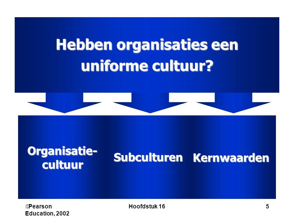  Pearson Education, 2002 Hoofdstuk 165 Hebben organisaties een uniforme cultuur? KernwaardenSubculturenOrganisatie-cultuur