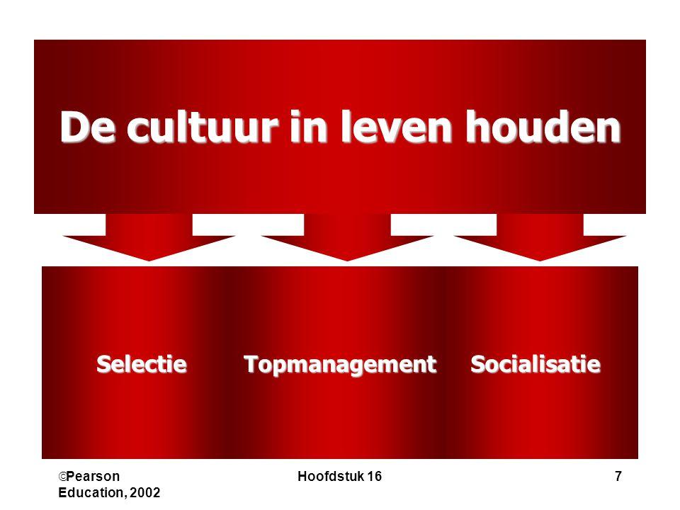  Pearson Education, 2002 Hoofdstuk 167 De cultuur in leven houden SocialisatieTopmanagementSelectie