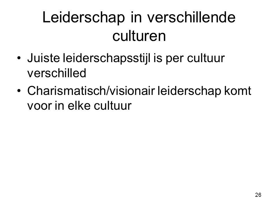 26 Leiderschap in verschillende culturen Juiste leiderschapsstijl is per cultuur verschilled Charismatisch/visionair leiderschap komt voor in elke cultuur