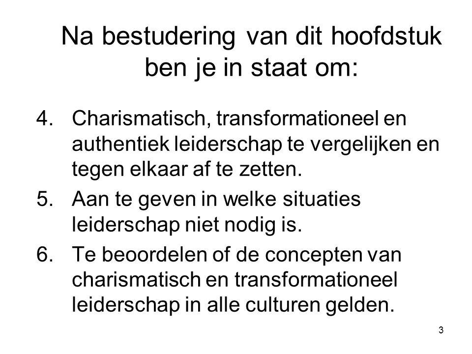 3 4.Charismatisch, transformationeel en authentiek leiderschap te vergelijken en tegen elkaar af te zetten.