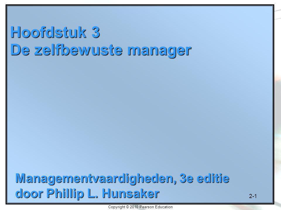 2-1 Copyright © 2010 Pearson Education Hoofdstuk 3 De zelfbewuste manager Managementvaardigheden, 3e editie door Phillip L. Hunsaker