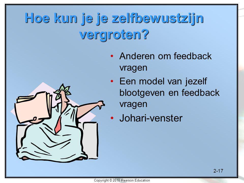 2-17 Copyright © 2010 Pearson Education Anderen om feedback vragen Een model van jezelf blootgeven en feedback vragen Johari-venster Hoe kun je je zelfbewustzijn vergroten?