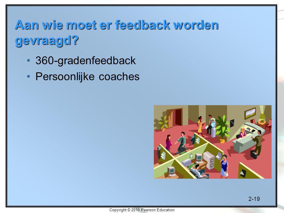2-19 Copyright © 2010 Pearson Education 360-gradenfeedback Persoonlijke coaches Aan wie moet er feedback worden gevraagd?