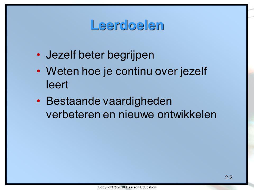 2-2 Copyright © 2010 Pearson Education Leerdoelen Jezelf beter begrijpen Weten hoe je continu over jezelf leert Bestaande vaardigheden verbeteren en n