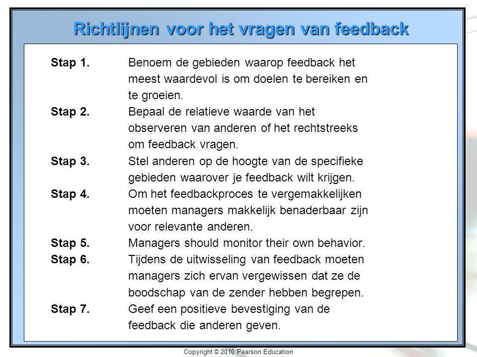 2-20 Copyright © 2010 Pearson Education Richtlijnen voor het vragen van feedback Stap 1.Benoem de gebieden waarop feedback het meest waardevol is om doelen te bereiken en te groeien.