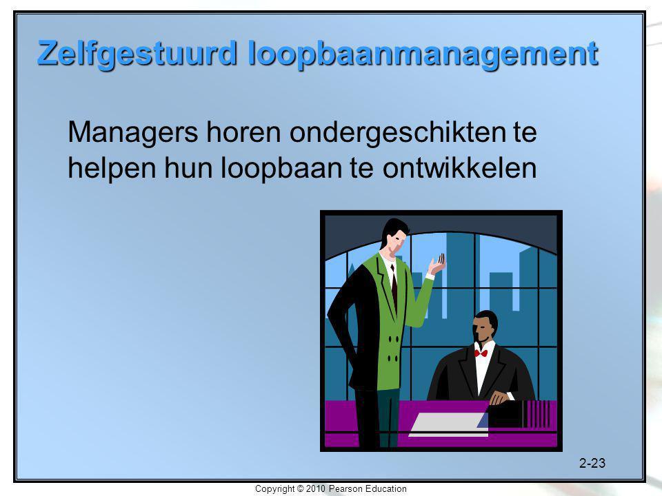 2-23 Copyright © 2010 Pearson Education Zelfgestuurd loopbaanmanagement Managers horen ondergeschikten te helpen hun loopbaan te ontwikkelen