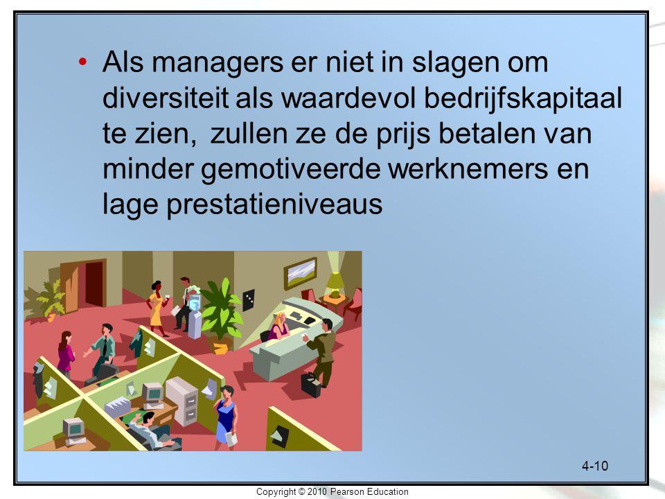 4-10 Copyright © 2010 Pearson Education Als managers er niet in slagen om diversiteit als waardevol bedrijfskapitaal te zien, zullen ze de prijs betal