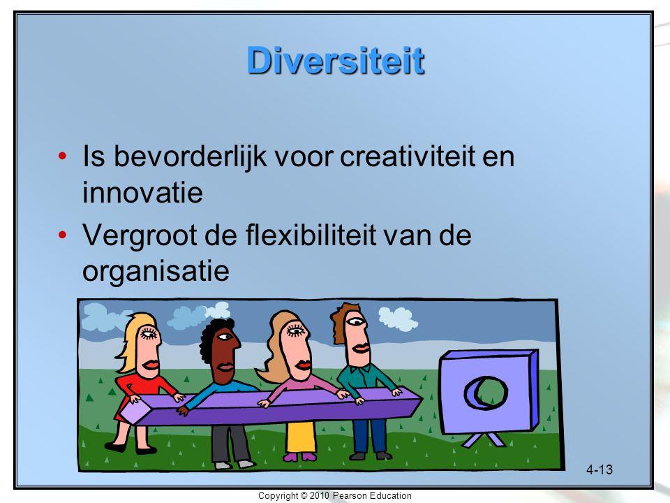4-13 Copyright © 2010 Pearson Education Diversiteit Is bevorderlijk voor creativiteit en innovatie Vergroot de flexibiliteit van de organisatie
