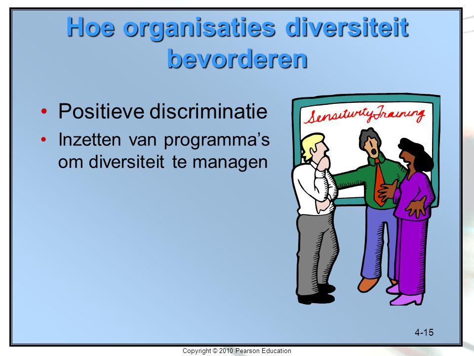 4-15 Copyright © 2010 Pearson Education Hoe organisaties diversiteit bevorderen Positieve discriminatie Inzetten van programma's om diversiteit te man