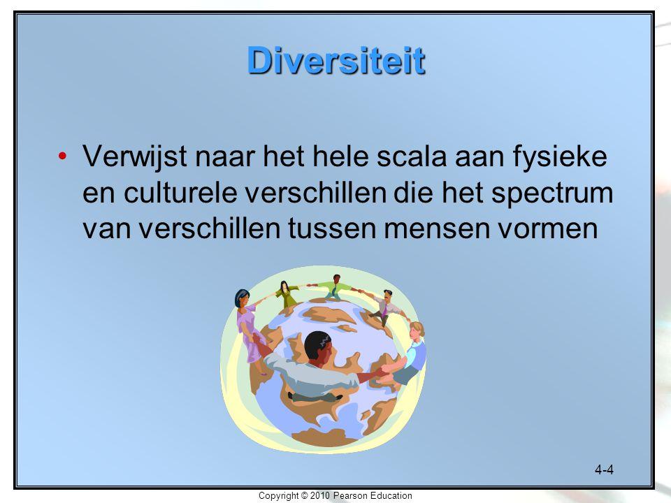 4-4 Copyright © 2010 Pearson Education Diversiteit Verwijst naar het hele scala aan fysieke en culturele verschillen die het spectrum van verschillen