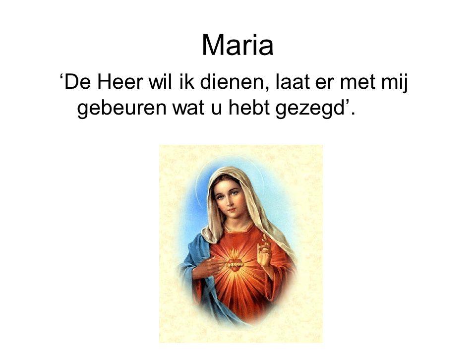 Maria 'De Heer wil ik dienen, laat er met mij gebeuren wat u hebt gezegd'.