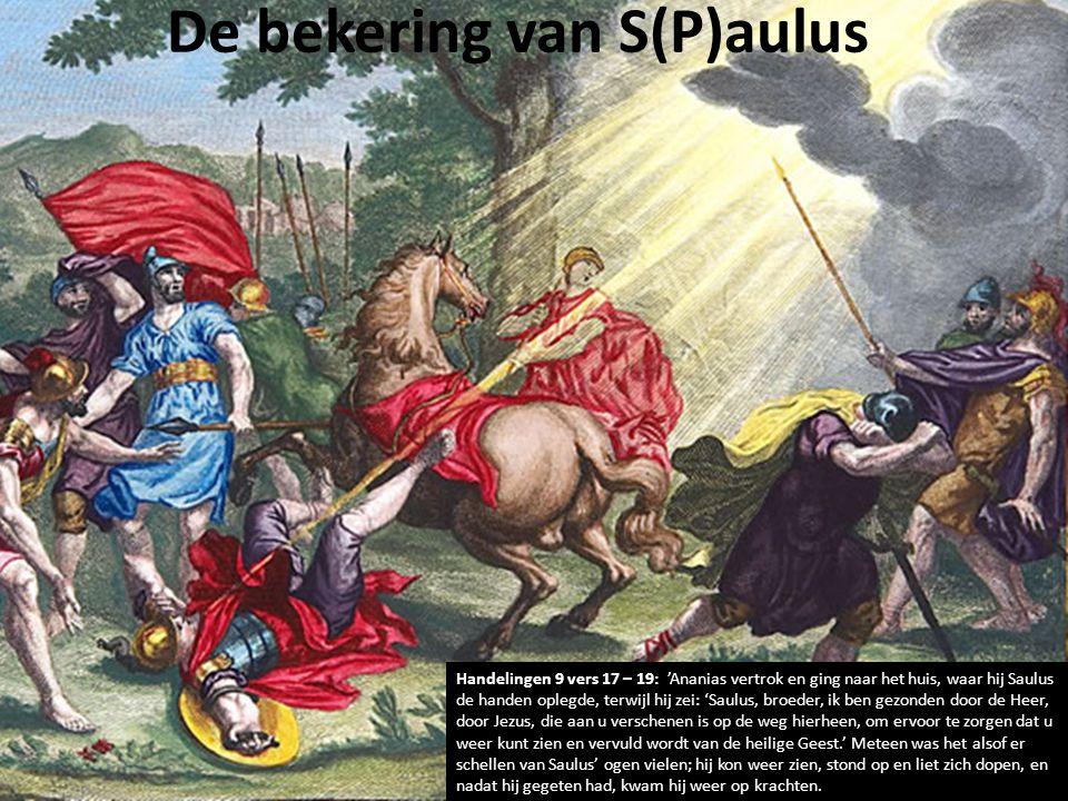 De bekering van S(P)aulus Handelingen 9 vers 17 – 19: 'Ananias vertrok en ging naar het huis, waar hij Saulus de handen oplegde, terwijl hij zei: 'Saulus, broeder, ik ben gezonden door de Heer, door Jezus, die aan u verschenen is op de weg hierheen, om ervoor te zorgen dat u weer kunt zien en vervuld wordt van de heilige Geest.' Meteen was het alsof er schellen van Saulus' ogen vielen; hij kon weer zien, stond op en liet zich dopen, en nadat hij gegeten had, kwam hij weer op krachten.
