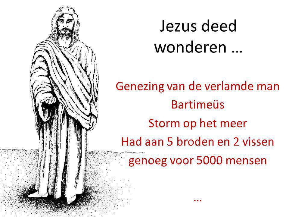 Jezus deed wonderen … Genezing van de verlamde man Bartimeüs Storm op het meer Had aan 5 broden en 2 vissen genoeg voor 5000 mensen …