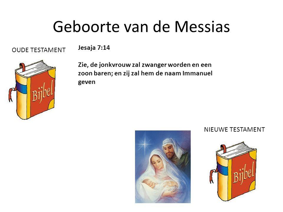 Geboorte van de Messias Jesaja 7:14 Zie, de jonkvrouw zal zwanger worden en een zoon baren; en zij zal hem de naam Immanuel geven OUDE TESTAMENT NIEUW