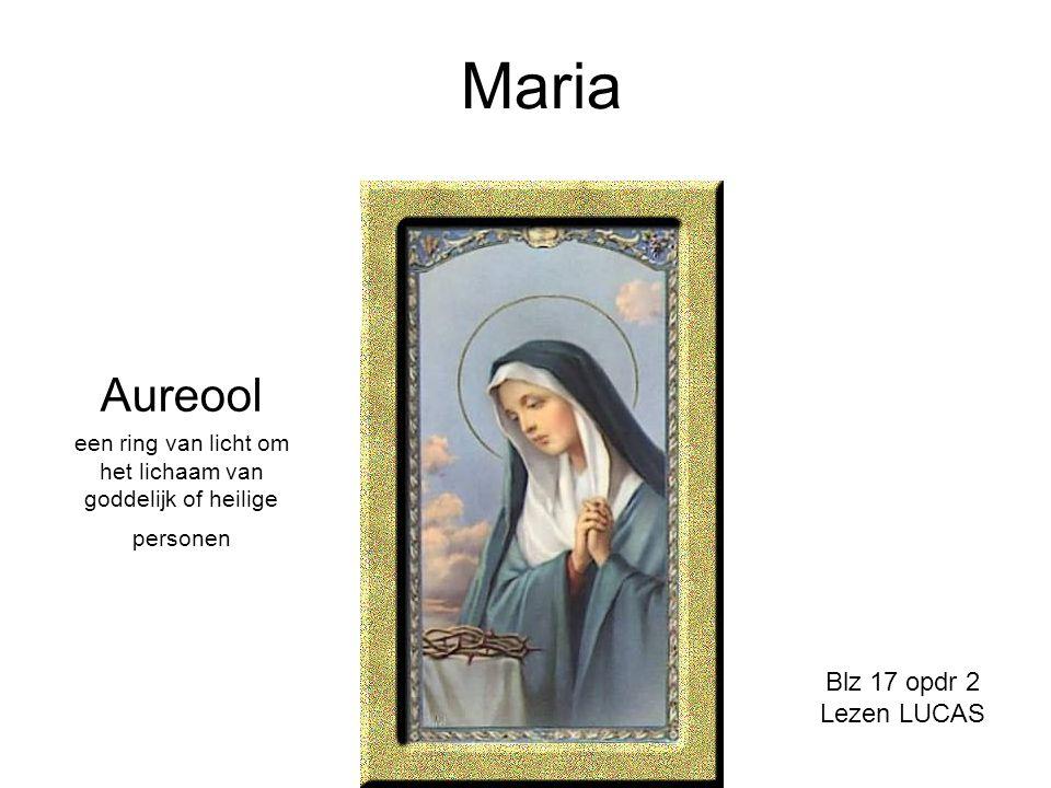 Maria Aureool een ring van licht om het lichaam van goddelijk of heilige personen Blz 17 opdr 2 Lezen LUCAS