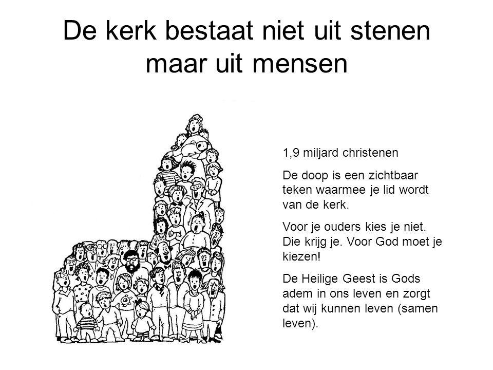 De kerk bestaat niet uit stenen maar uit mensen 1,9 miljard christenen De doop is een zichtbaar teken waarmee je lid wordt van de kerk. Voor je ouders