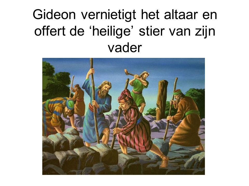 Gideon vernietigt het altaar en offert de 'heilige' stier van zijn vader